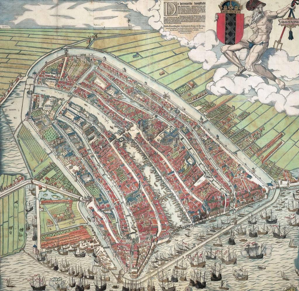 """""""Visão de um pássaro de Amsterdam"""", pintura de Cornelis Anthonisz mostra a cidade em 1536"""