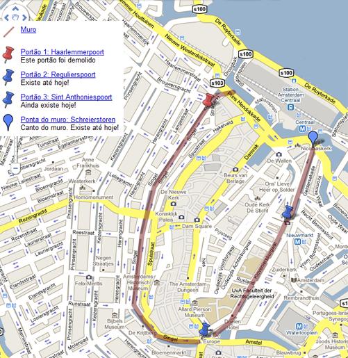 Antigo muro de Amsterdam. Mapa personalizado por Daniel Duclos em cima de mapa © 2009 by Google Maps. Clique para ver completo.