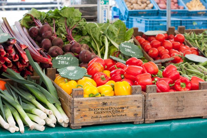 Noordermarkt Amsterdam: Barraca de vegetais na maravilhosa feira de orgânicos