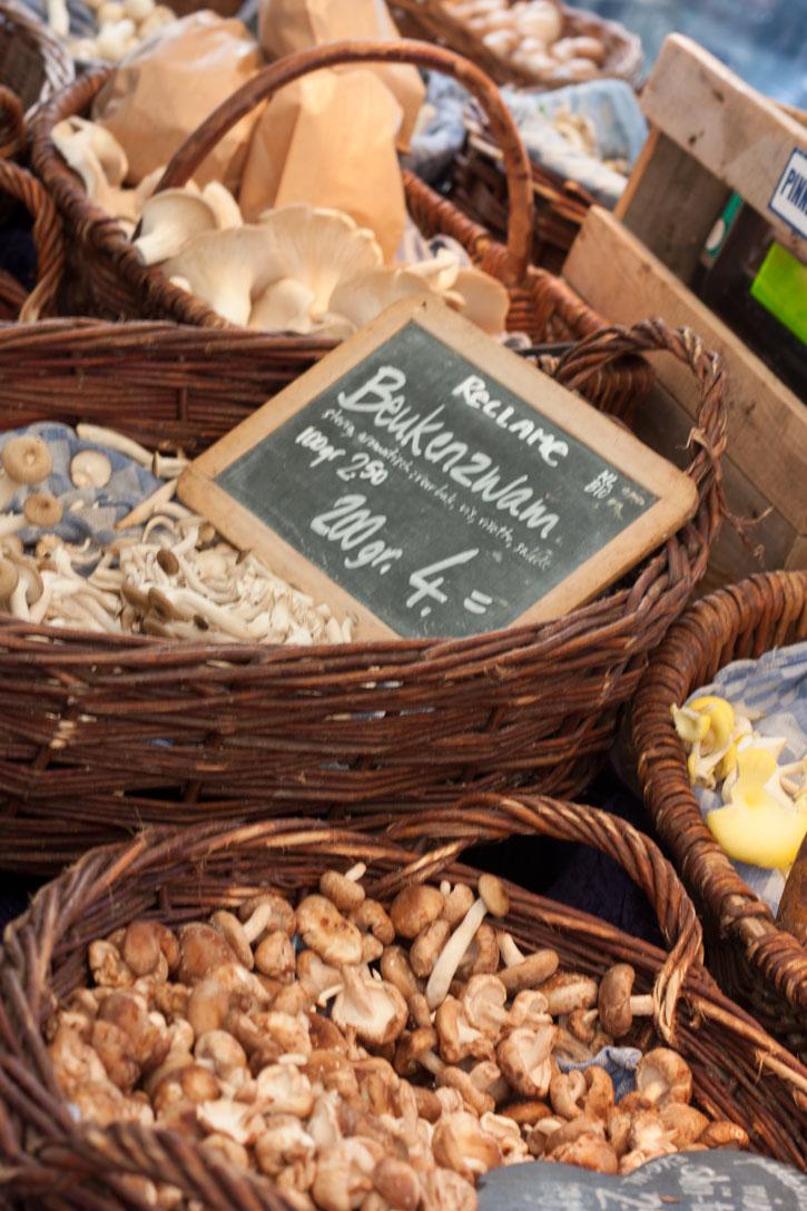 Noordermarkt Amsterdam: Barraca de cogumelos sensacional na feira de orgânicos