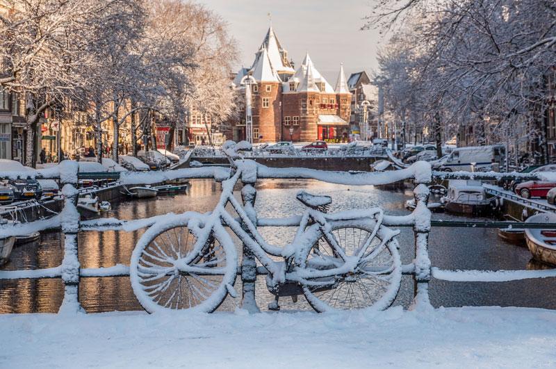 O clima em Amsterdam: inverno